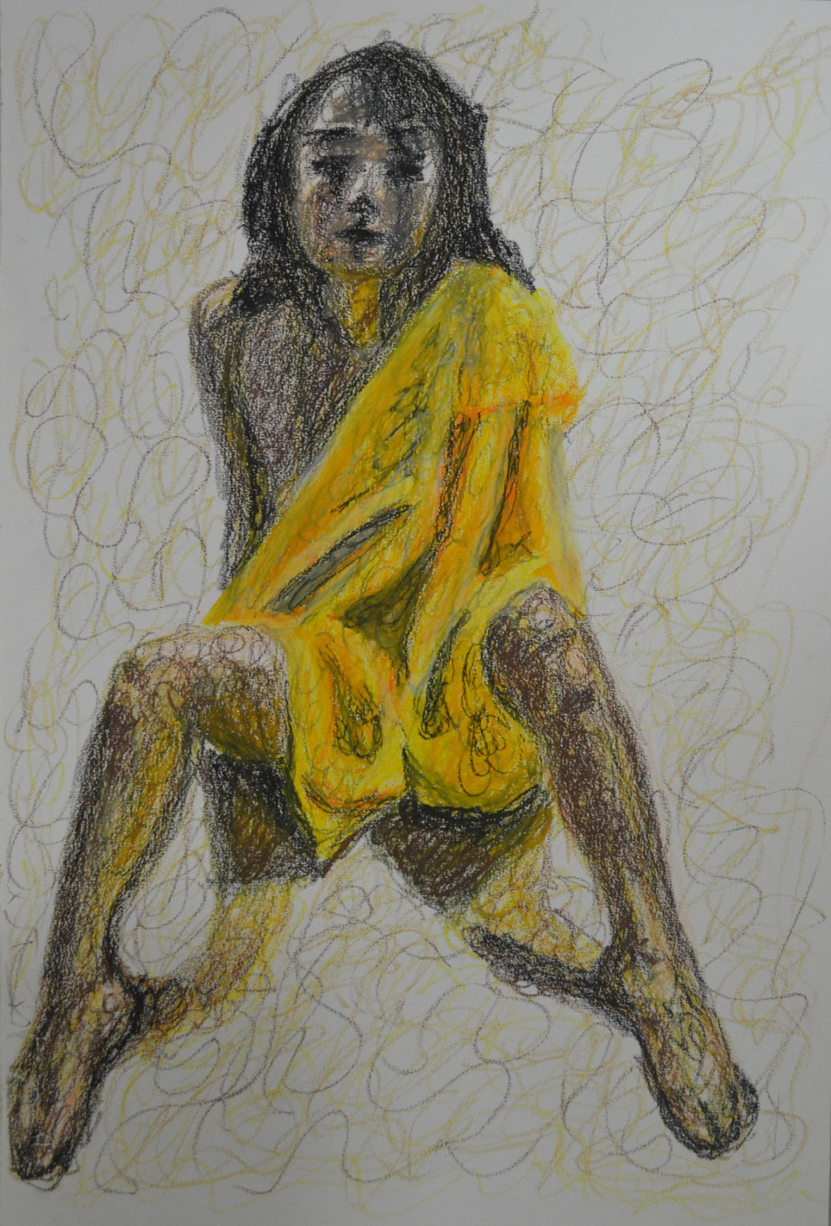 1 - Oil Pastel with Robe and Squiggles