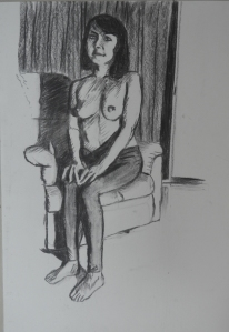 Tonal Drawing Nude Charcoal