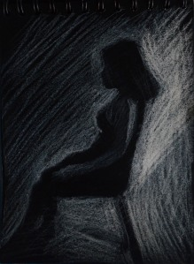2nd Tonal Drawing on Black Paper A6