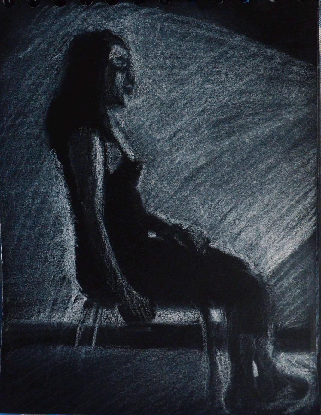 3rd Tonal Drawing on Black Paper A6