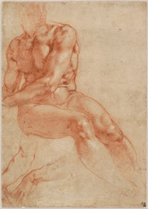 Michelangelo Buonarroti - Seated Young Male Nude