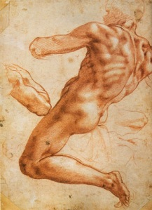 Michelangelo - Study for an Ignudo, Red Chalk