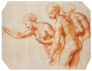 Raphael - Red chalk study for the Villa Farnesina Three Graces