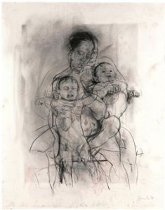 Jenny Saville Mother and Child (After the Leonardo Cartoon) Alison Watt charcoal on watercolour paper, 2009.